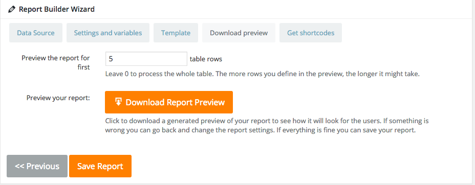 Download the Report Preview in WordPress Report Builder