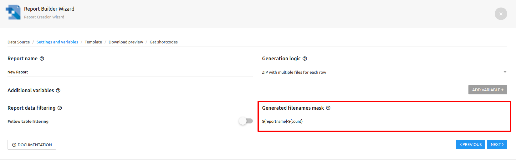 Filenames Masks for Multiple file reports