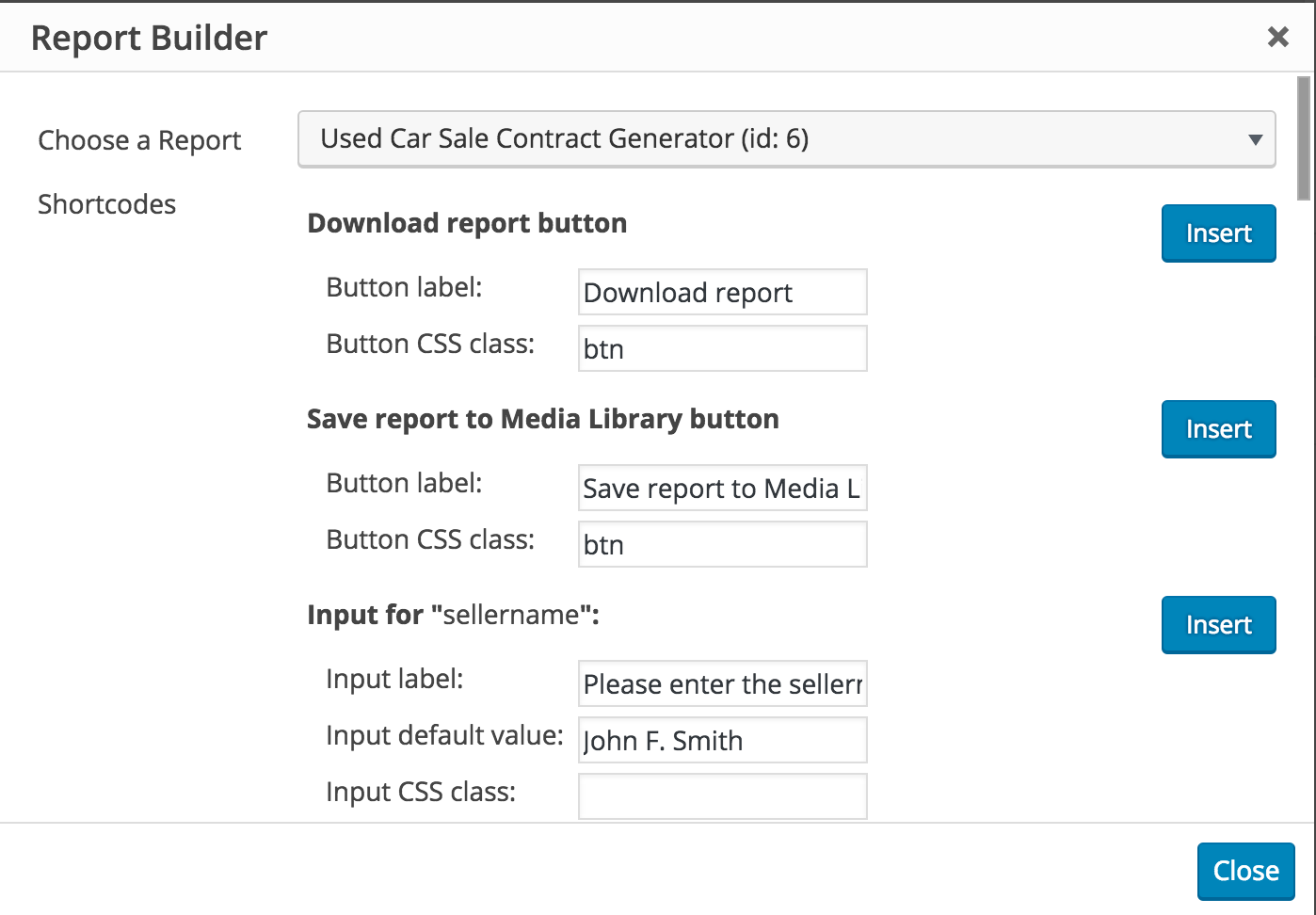 Insert Report Builder shortcodes to WordPress post or page