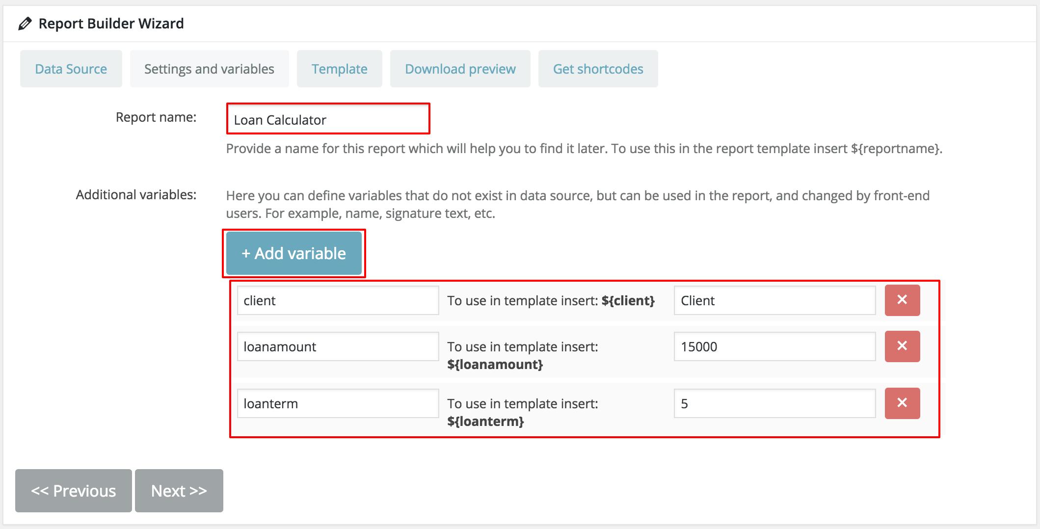 Generate Loan Calculator in WordPress Report Builder