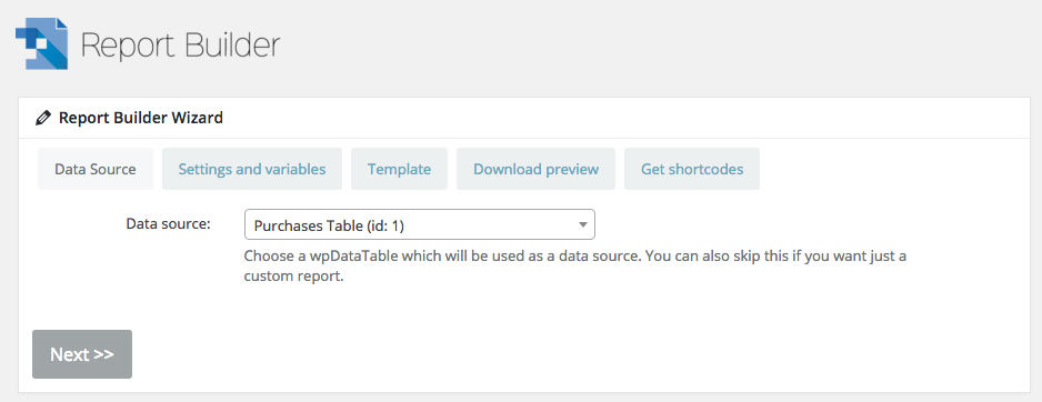 Choose a wpDataTable for WordPress Report Builder