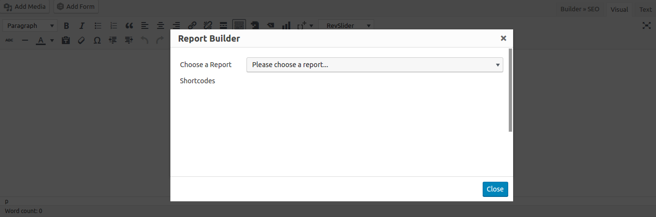Insert Report Builder Controls with Visual Editor