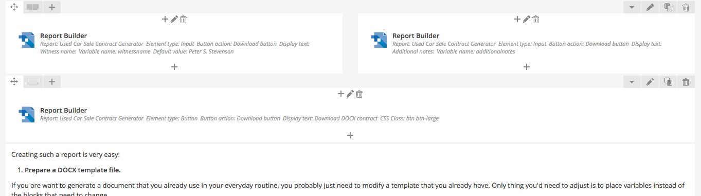 Visual Composer with WP Report Builder Elements